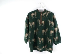 Vintage 90s Youth Size 8/10 All Over Horse Print Deep Pile Fleece Sweate... - $34.60