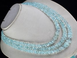 BEST 3 LINE 807CTS NATURAL BLUE AQUAMARINE FACETTED ROUND BEADS NECKLACE  - $475.00