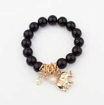 Vintage Bohemia National Beads Lucky Elephant Stretch Bracelet Women  Black - $25.99
