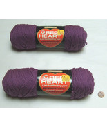 NOS (2) Coats & Clark Red Heart Classic 591 Cassis (purple) 4Ply Hand Kn... - $22.75