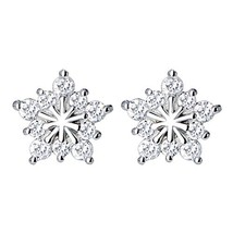 925 Silver Plated Vintage CZ Five pointed star Snowflake Shape Womens St... - $11.14