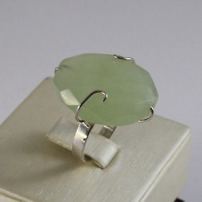 925 SILVER RING WITH LOVELY GIADA GREEN OVAL NATURAL SIZE 12