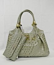 NWT SET of Brahmin Elisa Satchel/Shoulder Bag in Silver Sage Melbourne + Wallet - $479.00