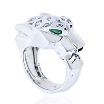 Cartier 18K White Gold Panthere Diamond And Emerald Eyes Ring - $23,900.00