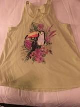 Girls Size 10-12 Cherokee Light Green Summer Tank Top Shirt Tucan Bird GUC - $12.00