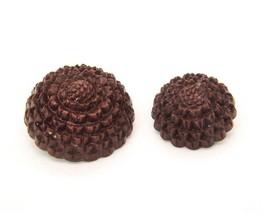 Floral Brooch Pin Lot Of 2 Carved Plastic Brown Flower Vtg C Clasp - $11.85