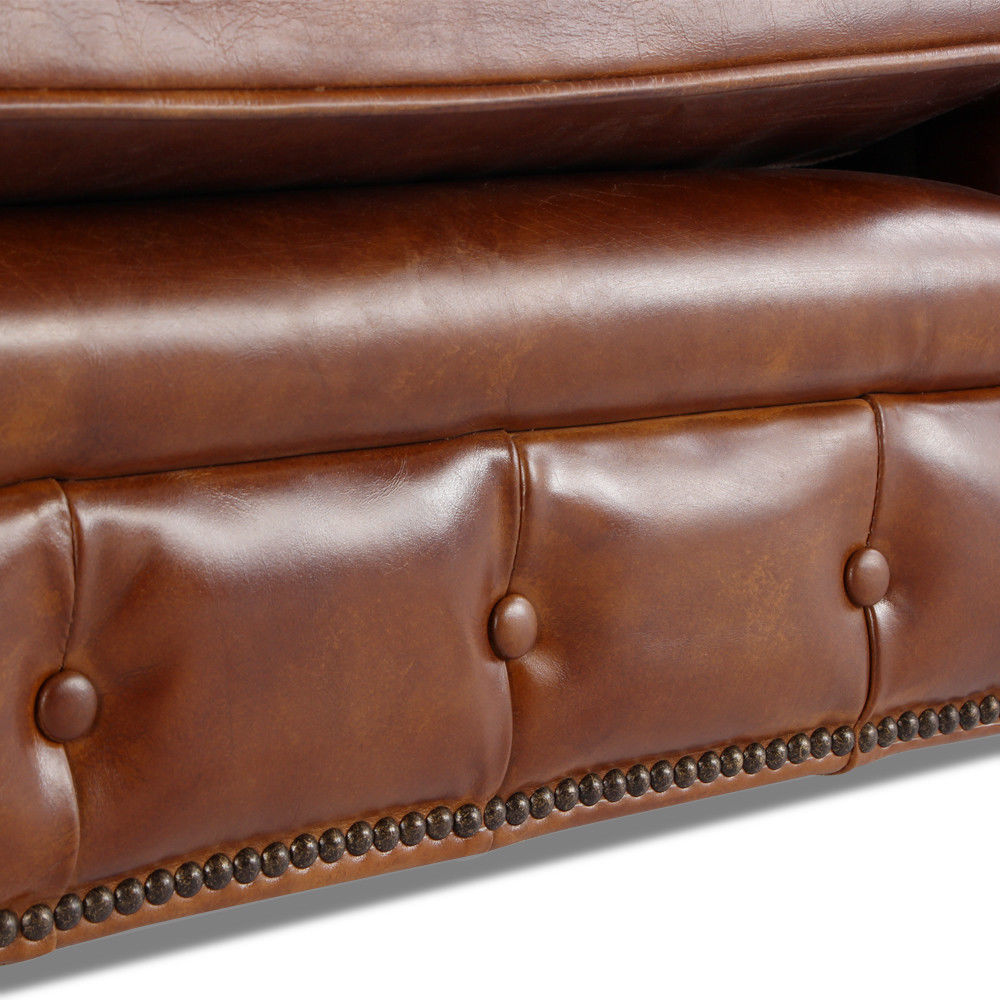 MarquessLife 100% Genuine Antique Leather Tufted Couch 3 Seater Sofa Handmade image 4