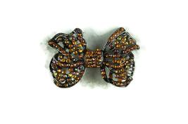 Vintage Pin Brooch Ribbon Purple Orange Rhinestone Black Silver Tone - $12.17