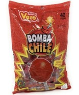 Vero Bomba Chile Paletas Fresa Flavor Mexican Hard Candy LolliPops 40 pcs - $14.95