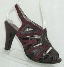 Sofft purple patent leather suede round peep toe buckle slingback heels 6M - $33.30