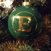 Letter E in Gold on Green Ceramic Monogram Ornament
