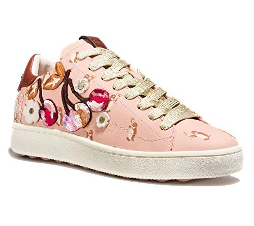 Coach Women's Leather Shoes Sneakers with Cherry Patches (6, Light Pink)