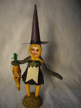 Spun Cotton Halloween Witch Gardener Vintage by Crystal no. HW24 - $43.99