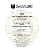 2018 Wake Co. All County Honor Bands Concert CD - $15.00