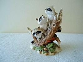 """Vintage Homco # 1433 Raccoons On A Stump Figurine """" Beautiful Collectible Item """" - $29.99"""