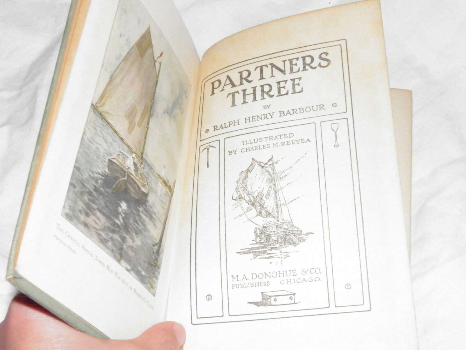 Antique 1913 Partners Three Ralph Henry Barbour HC Boys Book Donohue