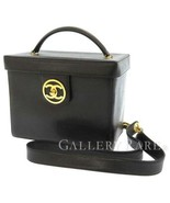 CHANEL Vanity Bag Caviar Leather Black 2Way Cosmetic Pouch CC A01999 Aut... - $1,830.85