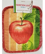 """Set of 2 Same Printed Jumbo Pot Holders,7""""x 8"""",RED APPLE, w/red & white ... - $8.90"""