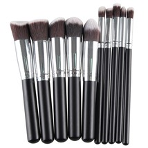 Black silver Pro High Quality 10 Pcs Makeup Brushes Foundation Blending ... - $22.00