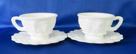 Westmoreland Glass Cups & Saucers, Paneled Grape Milk Glass - $18.00