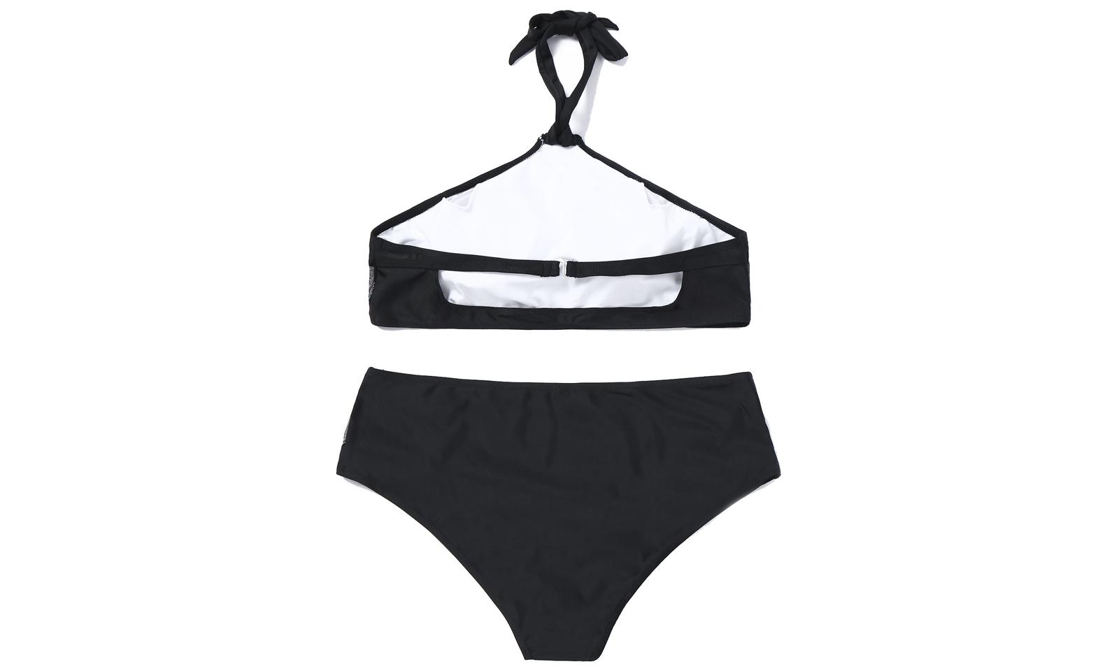 Women's Halter Plus Size High Waist Two Pieces Bikini Set