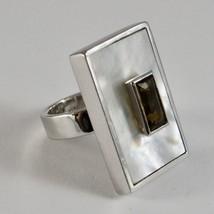 Ring aus Silber 925 mit Perlmutt Weiß Rechteckig und Kristall image 1