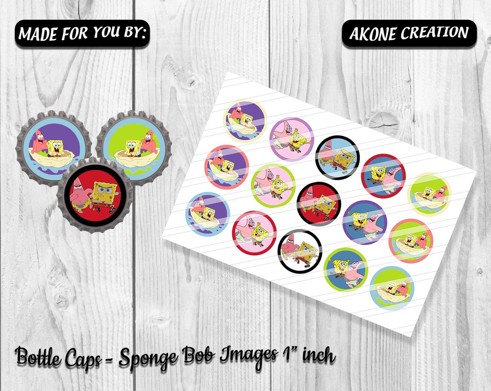 picture relating to Printable Bottlecap Images identified as 1 Sheet Sponge Bob Printable Bottlecap - and 50 equivalent products
