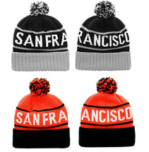 San Francisco Two Tone Warm Winter Cuffed Knit Hat Sport Pom Ski Beanie Cap