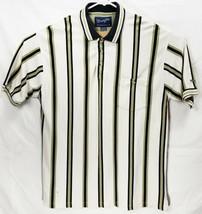 Wrangler Men's Large S/Sleeve Polo Golf Shirt Striped White Green Black GUC - $12.98