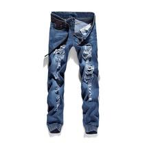 High quality men's jeans Casual  hole jeans men balmai jeans men denim trousers  image 2