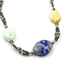 Necklace Antica Murrina Venezia, CO997A19, Ovals Blue Green Yellow, with Flowers image 2