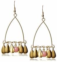 USA Made Gemelli Gold Glitter Fringe Chandelier Earring Pink Quartz Gemstone NWT
