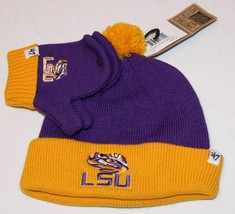 NCAA LSU Knit Hat and Mittens Infant Baby Bam Bam New NCAA Purple Tigers - $19.24