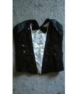 Leg Avenue Women's Sexy Sequin Tuxedo Bustier Corset Black & White Sz S/... - $11.30