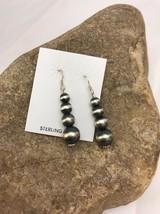 """Native American  Sterling Silver Navajo Pearls Earrings 1.5"""" 318 - $60.11"""