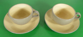 Harkerware Stone China Cup and Saucer Set (s) LOT OF 2 Yellow Gray - $17.77
