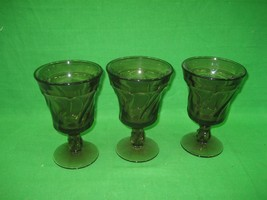 Set of Three (3) Amber Brown Fostoria Jamestown Water Tea Goblets Glasses - $28.01