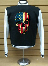 American Skull Letterman Varsity Baseball BLACK/WHITE Fleece Jacket - $29.69+