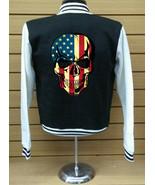 American Skull LETTERMAN VARSITY BASEBALL BLACK/WHITE FLEECE JACKET - $29.69+