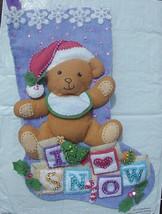New! FINISHED Bucilla Baby Teddy Bear Christmas Stocking Handmade Felt Applique  - $159.99