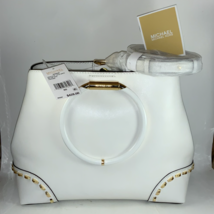Pure White and Gold Michael Khors Purse With Adjustable over the shoulde... - $400.00