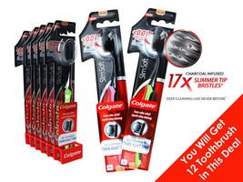 Toothbrush 12 Brush Colgate Slim Soft Charcoal Soft Bristles Lot of 12 F... - $24.49