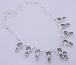 Amethyst Green Silver Overlay Handmade Jewelry Necklace JH-28-12/117 - $12.77