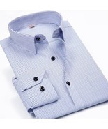 Men Shirts Male Striped Formal Dress Shirt - £16.08 GBP