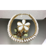 Vintage Crown Trifari Jewelry White Beaded Necklace Matching Flower Broo... - $39.99