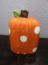 "Halloween Fall Thanksgiving Orange Polka Dot Ceramic Square Pumpkin 7"" - $22.99"