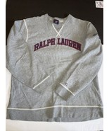 Ralph Lauren Polo Jeans Co Sz Large Spell out Gray Pullover Sweater Swea... - $24.73