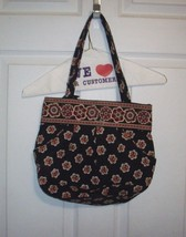 Vera Bradley Retired Pirouette Black Red Floral Medium Shoulder Bucket B... - $4.50