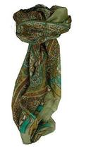 Mulberry Silk Traditional Square Scarf Aimee Grey & Aqua by Pashmina & Silk - $23.93