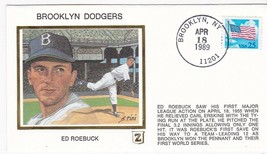 ED ROEBUCK BROOKLYN DODGERS APRIL 18 1989 Z SILK  - $2.98